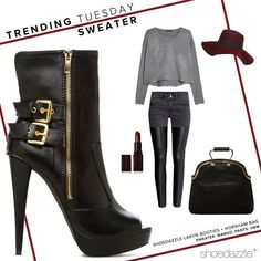 Keep it comfy and edgy in a cropped sweater + the Lakyn booties. #TrendingTuesday #ShoeDazzle