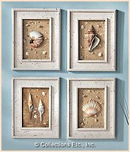 DIY Project:  shells, sand and artfully weathered wood frames