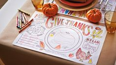 Fill up on fun with our Thanksgiving crafts for kids. Includes free Thanksgiving coloring pages to use as place mats and coffee filter leaf templates and instructions. #Hallmark #HallmarkIdeas