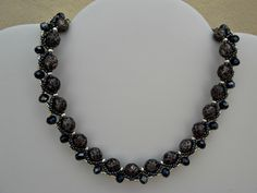 Beadwork Bead Necklace with black marbled by Barcelonaibizacolors,