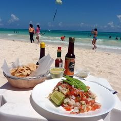 Ceviche is made with shrimp or fish mixed with tomato, lemon, chilli and onions