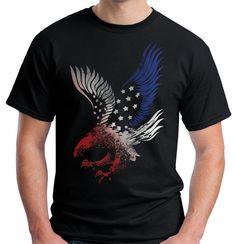 Velocitee Mens American Eagle T Shirt Patriotic USA America Biker V178 #Velocitee