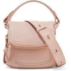 TOM FORD Jennifer mini textured-leather shoulder bag (8.915 RON) ❤ liked on Polyvore featuring bags, handbags, shoulder bags, pastel pink, pink handbags, structured purse, top handle purse, tom ford handbags and pink purse