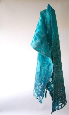 """mitosis 30"". Nature is calling, this shawl is whispering. 100% soft merinowool and chiffonsilk. 33x144cm, €100. http://atelierkniedelius.exto.nl/kunstwerk/169170580_next.html#.VQwuKth0w5s"
