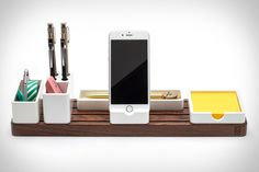 Nearly every desk has the same problem: clutter. The Gather Desk Organizer is a well-made, well-designed way to keep all your essential tools handy while minimizing the mess. It starts with a solid walnut or maple base, with four slots...