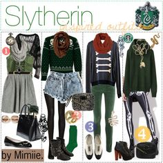 """Slytherin inspired outfits."" because I'm a Harry Potter fan and can't NOT repin!"