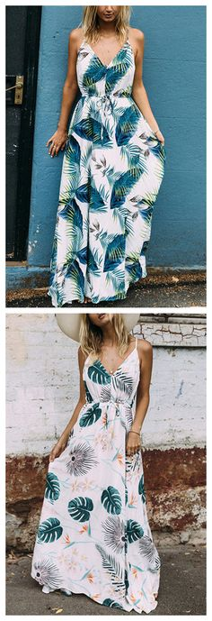 White and Green Tropical Leaves Printed Maxi Dress
