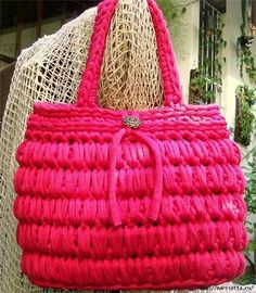 handbag of knitted tapes