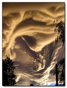 Australian photographer Ken Prior snapped the nearly visible brushstrokes in the above sky over Scotland. The photo is the result of a mysterious, as yet unclassified cloud type that's been showing up all over the United Kingdom and New Zealand, and wherever else Prior happens to have his camera pointed at the sky. Meteorologists are calling them asperatus clouds, while people who aren't insecure about being confused with the weatherman are using the more straightforward Jacques Cousteau clouds.