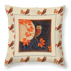 """Visitors to this pin might like to see this image """"Owl and Moon Autumn Warmth"""" online at Fine Art America and Pixels (Click the image). Pillows come in six sizes, in cotton or polyester poplin. The image can also be purchased as prints, greeting cards, phone cases and more. Here is the link: https://pixels.com/featured/owl-and-moon-autumn-warmth-nancy-lee-moran.html ♡ Thank you from the artist! Art © Nancy Lee Moran #orange #NancyLeeMoran #owl #pillow"""