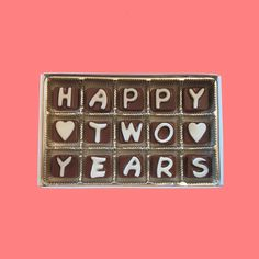 Happy 2 Years Two Cubic Chocolate Letters Gourmet by chocolatesays, $25.99