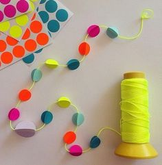 DIY easy and bright colored garland Cute Crafts, Diy And Crafts, Crafts For Kids, Arts And Crafts, Paper Crafts, Diy Projects To Try, Craft Projects, Crafty Craft, Crafting