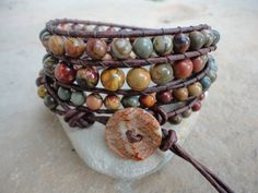 Sundance II Jasper Beaded Natural  Leather Wrap by justhipstuff, $59.99
