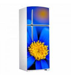 Adesivo porta de geladeira - Flor azul