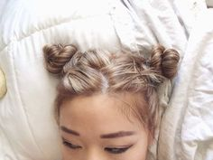 Image via We Heart It https://weheartit.com/entry/140692764 #bedsheets #black #blond #buns #eyeliner #hair #pale #white #eyebrows #dirtyblond #samuraiknots