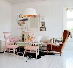 The pastel chairs are SO cool, but a black one would look better in my home. I have wanted one for forever -  at least it feels like forever... http://www.finnishdesignshop.com/furniture-lounge-sofas-tapiovaara-mademoiselle-mademoiselle-chair-black-p-3460.html