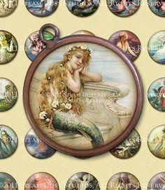 Vintage & Victorian Mermaids  32mm Circles  by steamduststudios, $3.90