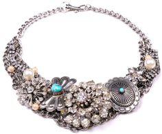vintage brooch & concho necklace