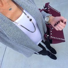 Grey cardigan + white tank + black leggings + plum studded satchel [IG: @ontheDailyX] Click through for outfit details