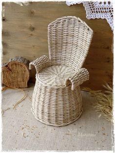 Кукольный дом ручной работы. Ярмарка Мастеров - ручная работа. Купить Плетеное креслице Принцессы. Handmade. Серо-бежевый