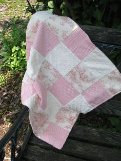 Patchwork Central Park Toile Baby Blanket  security blanket  by PrettyPersonalGifts, $25.00