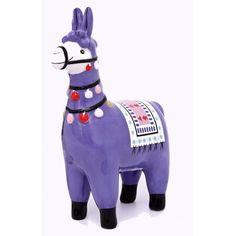 Lama déco H15cm en céramique bleue violet et décor multicolor PIER IMPORT