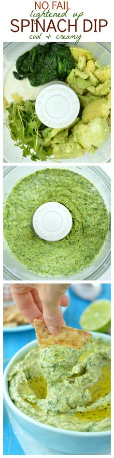This healthy spinach dip don't need mayo, sou… Easy clean eating dip recipe. This healthy spinach dip don't need mayo, sour cream or any processed ingredients. After making this Creamy Spinach Dip recipe you'll never make a Raw Vegan Recipes, Vegan Foods, Vegan Snacks, Healthy Snacks, Vegetarian Recipes, Healthy Recipes, Paleo Diet, Healthy Eating, Vegan Ideas