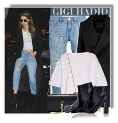"""""""Gigi Hadid night out in Paris - 3/2/16"""" by anne-mclayne ❤ liked on Polyvore featuring White House Black Market, Helmut Lang, Yves Saint Laurent, Linda Farrow, Gianvito Rossi, GetTheLook, StreetStyle, CelebrityStyle, modeloffduty and gigihadid"""
