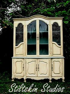 Colette French Cottage Dining Room China Cabinet Hutch in Duck Egg and Cream