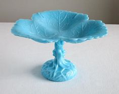 Vintage Turquoise Blue Milk Glass Compote - Portieux Vallerysthal - Grape Leaf Vine Form Footed Bowl Dish