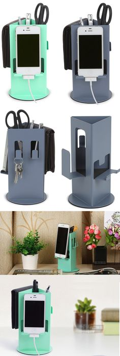 A Multipurpose Office Desk Organizer iPhone Cell Phone Charging Station Dock Mount Holder Charge Cord Cable Organizer Pen Pencil Holder Stand Business Card Display Stand Holder Key Holder Hanger Wall Hook for iPhone 77 Plus and other smartphones