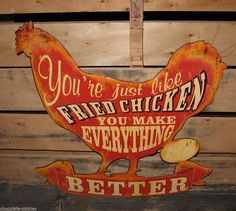 Large Metal Fried CHICKEN Rooster SIGN*Primitive/French Country Farmhouse Decor #Country