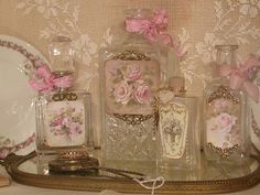 French style perfume bottles <3 Shabby Chic Cottage Pink Roses