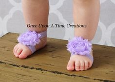 Lavender Shabby Flower Barefoot Sandals  by OnceUponATimeTuTus