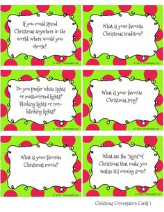 Christmas Conversation cards- Free printable conversation starters- great for the whole family. Make great writing prompts for the classroom.