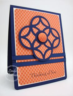 handmade card ... shows how a large die cut can be trimmed to make a whole new look ... luv how the color wheel opposites of purple and orange make the design take center stage ... luv it!! ...Stampin' Up!