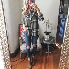 Olive Plaid Fall Outfit