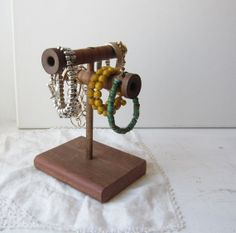 Double Bracelet Holder Display Organizer - Made from Antique Wooden Textile Mill Spool - Rustic Brown - Retail Jewelry Display on Etsy, $35.00