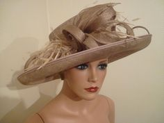 d9d5491fefd793 LADIES DAY NIGEL RAYMENT GOLD TAUPE COFFEE WEDDING ROYAL ASCOT DERBY RACE  HAT Fascinator Hats,
