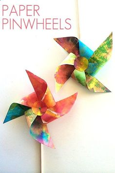 A simple tutorial for making paper pinwheels -- Love how colorful these are!