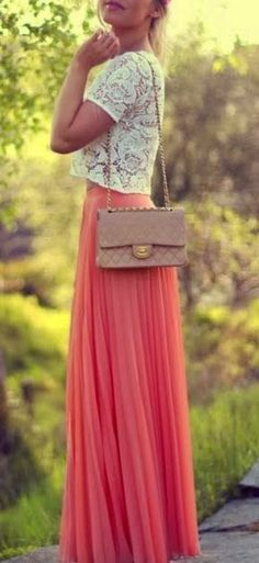 White Flowery Lace Blouse With Long Pink Skirt