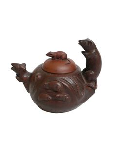 Vintage Hand-crafted Oriental Clay Teapot - Happy Rats (22 oz)