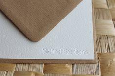Custom Letterpress Stationery for Men  Blind by CeruleanPress