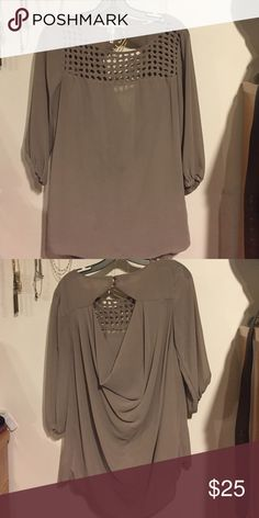 Maurices woven blouse Taupe colored Maurices brand blouse! Flowy fit  and super comfy! Pretty lattice collar with draping in the back! Maurices Tops Blouses