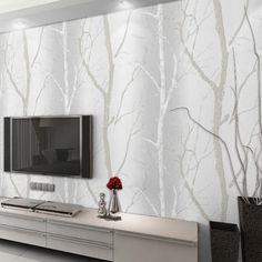 Grey White Modern Embossed Birch Tree Mural Forest Wallpaper For Living Room  #Unbranded