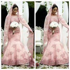 Nigerian wedding pink colored wedding dress