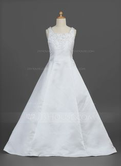 A-Line/Princess Square Neckline Floor-Length Satin Flower Girl Dress With Ruffle Beading Flower(s) (010007302)