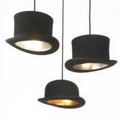 black hat lighting - metallic inside. Wouldnt these be fantastic for a magic/houdini theme nursery, or a corner nook where they put on puppet shows? So cute.