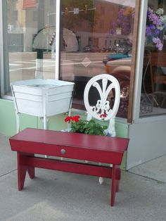 Primitive wood bench red paint farmhouse western cowgirl rodeo rustic