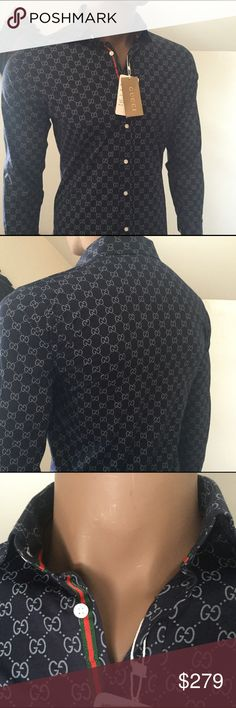 "Gucci GG Print Button-Down Shirt Men's navy Gucci long sleeve GG print shirt with button closures at front and cuffs. Brand new with tags. Designer size Small. Neck 15"", Chest 40"", length 26"", sleeves 31"". Guaranteed Authentic! Gucci Shirts Casual Button Down Shirts"